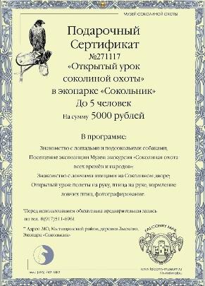 Сертификат Соколиная охота