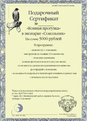 Сертификат на конную прогулку